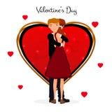 日s华伦泰 逗人喜爱的夫妇 爱Day.Valentines Day.Holidays卡片 加上重点 在动画片样式的传染媒介例证 库存例证