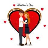 日s华伦泰 逗人喜爱的夫妇 爱Day.Valentines Day.Holidays卡片 加上重点 在动画片样式的传染媒介例证 向量例证