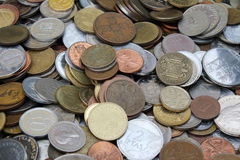 旧世界硬币,事务,背景 库存图片