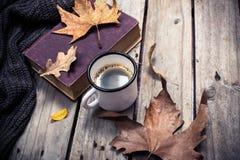 旧书、被编织的毛线衣有秋叶的和咖啡杯 库存照片