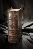 旧书脊椎 与被用完的坚硬盖子的古老博物馆书 镭 免版税库存照片
