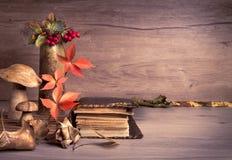 旧书,在木头,文本空间的秋天装饰 库存照片