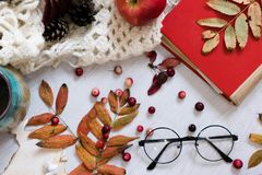 旧书,巧妙的电话,在木背景的秋叶 概念秋天 顶视图 复制空间 温暖的葡萄酒口气 温暖 免版税库存照片