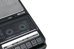 旧时桌面类型在白色被隔绝的backgr的盒式带录音机 图库摄影