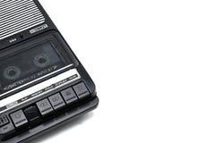 旧时桌面类型在白色被隔绝的backgr的盒式带录音机 免版税库存照片