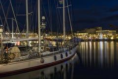 旧港口热那亚夜 免版税库存照片