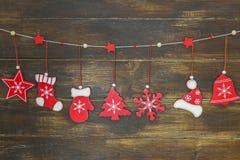 破旧的别致的土气圣诞节装饰 库存图片