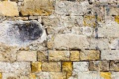 破旧的难看的东西被破坏的表面砖墙 具体材料 免版税图库摄影