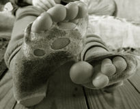 破旧袜子 免版税库存图片