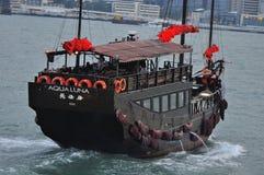旧货小船在香港 免版税库存照片