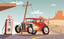 旧车改装的高速马力汽车汽车在路线66沙漠 向量例证
