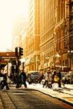 旧金山与温暖的光的街道场面 库存图片