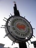 旧金山偶象Fishermans码头有圣诞灯的 免版税库存照片