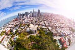 旧金山全景Fisheye视图从小山的 库存图片