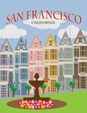 旧金山加州被绘的夫人海报传染媒介例证 向量例证