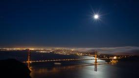 旧金山和金门大桥在晚上 免版税库存照片