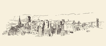 旧金山市被刻记的建筑学葡萄酒 库存照片
