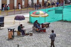 旧金山教会广场,基多,厄瓜多尔 免版税图库摄影