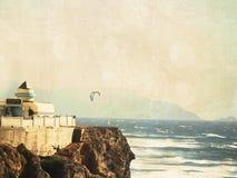 旧金山海岸风筝冲浪。 免版税库存图片