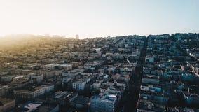 旧金山湾地区都市风景日出在清早 免版税库存照片