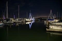 旧金山湾码头39,旧金山,加利福尼亚,美国夜场面  库存图片
