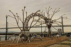 旧金山灼烧的人雕塑身体 库存图片
