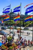 旧金山码头39署名旗子 图库摄影