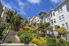 旧金山街市住宅区  免版税图库摄影