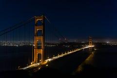 旧金山金门桥在夜之前 免版税库存照片