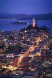 旧金山鸟瞰图在晚上 免版税库存照片