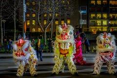 旧金山,加利福尼亚- 2017年2月11日:春节庆祝游行在普遍和五颜六色的唐人街 图库摄影