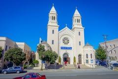 旧金山,加利福尼亚- 2017年2月11日:海教会的星美丽的射击在市中心 图库摄影
