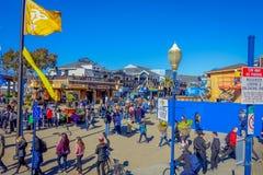 旧金山,加利福尼亚- 2017年2月11日:美好的旅游看法码头39在普遍和文化街市 免版税库存照片