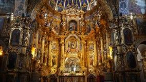 旧金山,基多,厄瓜多尔教会的内部  库存照片