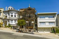 旧金山,陡峭的街道 库存图片