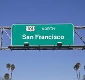 旧金山101与棕榈的高速公路标志 库存照片
