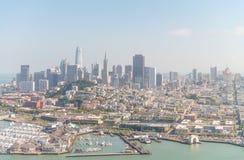 旧金山- 2017年8月:旧金山skylin鸟瞰图  库存照片