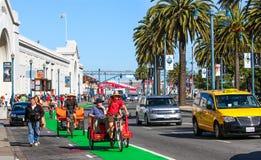 旧金山Embarcadero Pedicab自行车出租汽车 库存图片