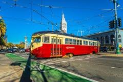 旧金山f线路电车,加利福尼亚,美国 库存照片