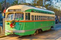 旧金山f线路电车,加利福尼亚,美国 免版税库存图片