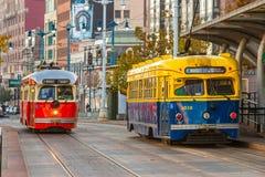 旧金山f线路电车,加利福尼亚,美国 库存图片
