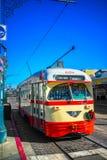 旧金山f线路电车,加利福尼亚,美国 图库摄影