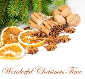 早午餐圣诞节桂香deco杉木棍子 免版税库存图片