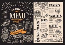 早午餐餐馆菜单 传染媒介酒吧和咖啡馆的食物飞行物 desi 免版税库存图片