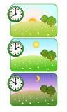 早晨、中午和夜 时钟显示时刻 森林沼地 太阳是光亮的 eps JPG月亮星形 向量 图库摄影