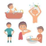早晨个人卫生和手洗涤物做法 卫生学男孩 免版税图库摄影