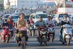 早晨交通在西贡 免版税库存图片