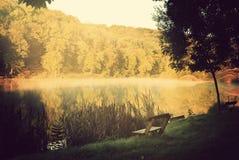 早晨光的湖 免版税图库摄影