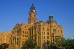 早晨光的, Ft历史的法院大楼 价值, TX 库存照片