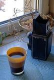 早晨咖啡和摄影抽象画象 库存照片